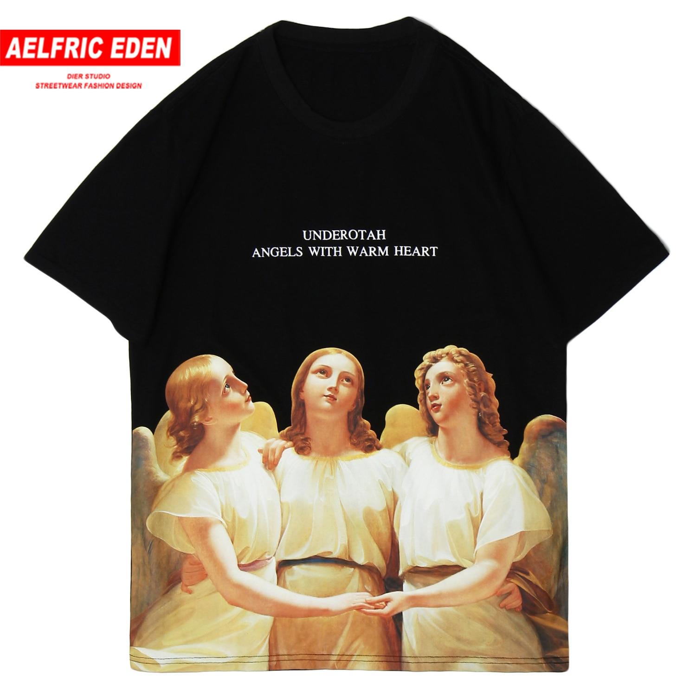 Aelfric Eden Hip Hop T Shirt Men 2020 Harajuku Fashion Streetwear Half Sleeve Guardian Angel Printed Casual Cotton Short Sleeve