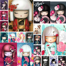 2019 Christmas gifts 5d diamond embroidery full set Japanese doll DIY Diamond Painting Cross stitch Japanese doll decor for home