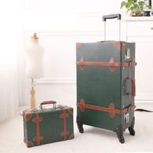"""American retro Trolley Case 22""""&12"""" luggage suit 22 inchs leather Suitcase Mini password Handbag spinner boarding Trunk"""