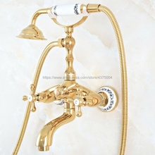 Bathtub-Faucets Wall-Mounted Hand-Shower Gold with Bathroom Nna805 Polished
