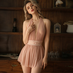 New Babydoll Sexy Pajamas Women's Autumn/winter Lace Tulle Transparent Skirt Sexxy Lingerie Hot Erotic Backless Home Dress