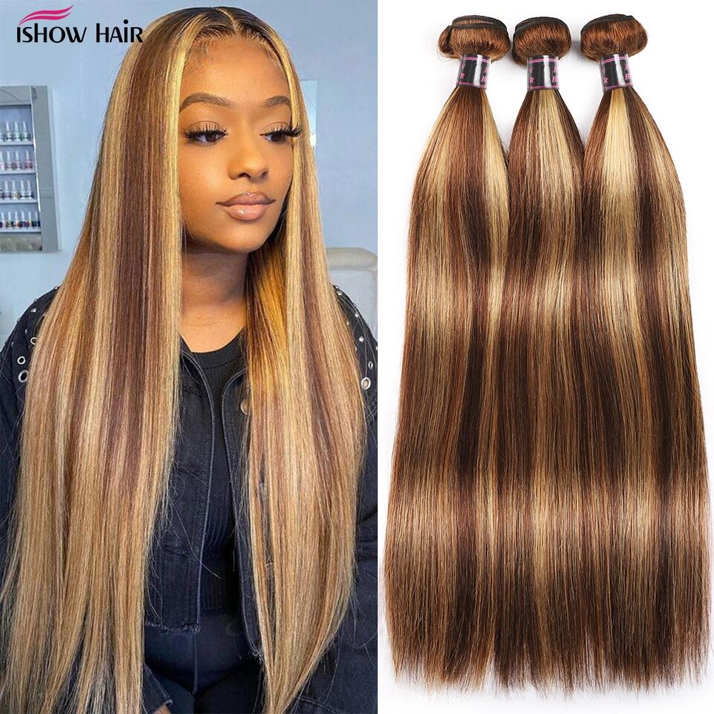 Tissage en lot brésilien Remy lisse avec reflets – Ishow, cheveux naturels, couleur brun P4/27
