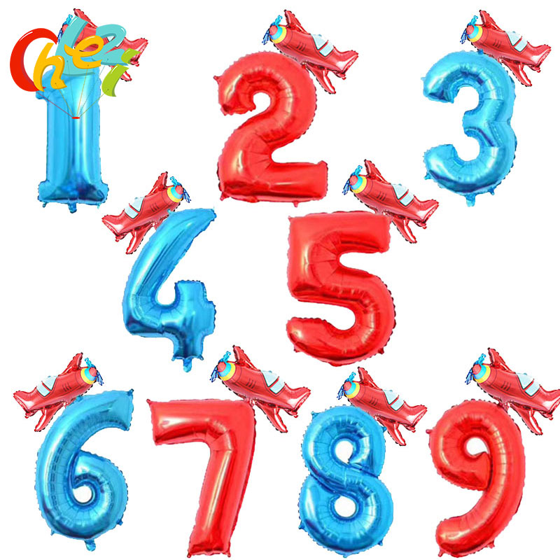 2pcs 32 inch Number Foil balloons+Mini airplane balloon Children birthday party decorations Kids toy Air Globos baby shower Gift image