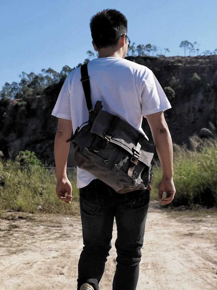 Bolsa de couro de lona bolsa de ombro único bolsa de mochila, viagem militar estudante do sexo feminino, menino, menina, 14 polegada bolsa para portátil,