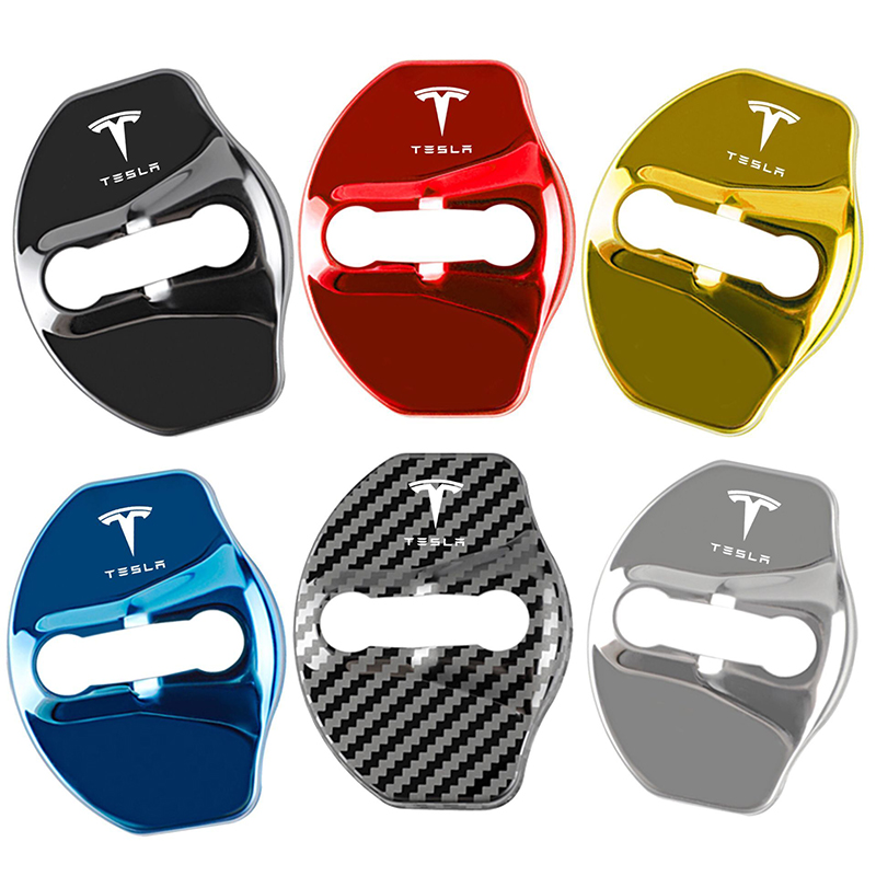 4pcs Car Door Lock Buckle Protective rust Cover metal sticker For Tesla model 3 2016-2020 logo badge style accessories stickers