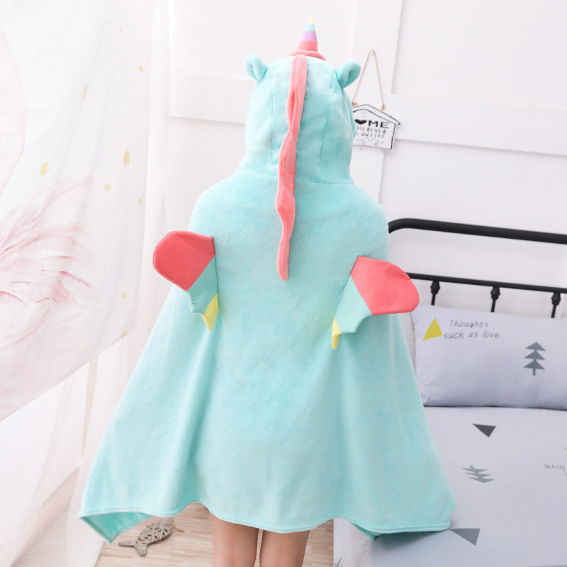 Unicorn Fleece Blanket Hooded Blanket Bed Sofa TV Throw Blankets Cartoon Hoodie Blanket Sweatshirt Christmas Gift for Children