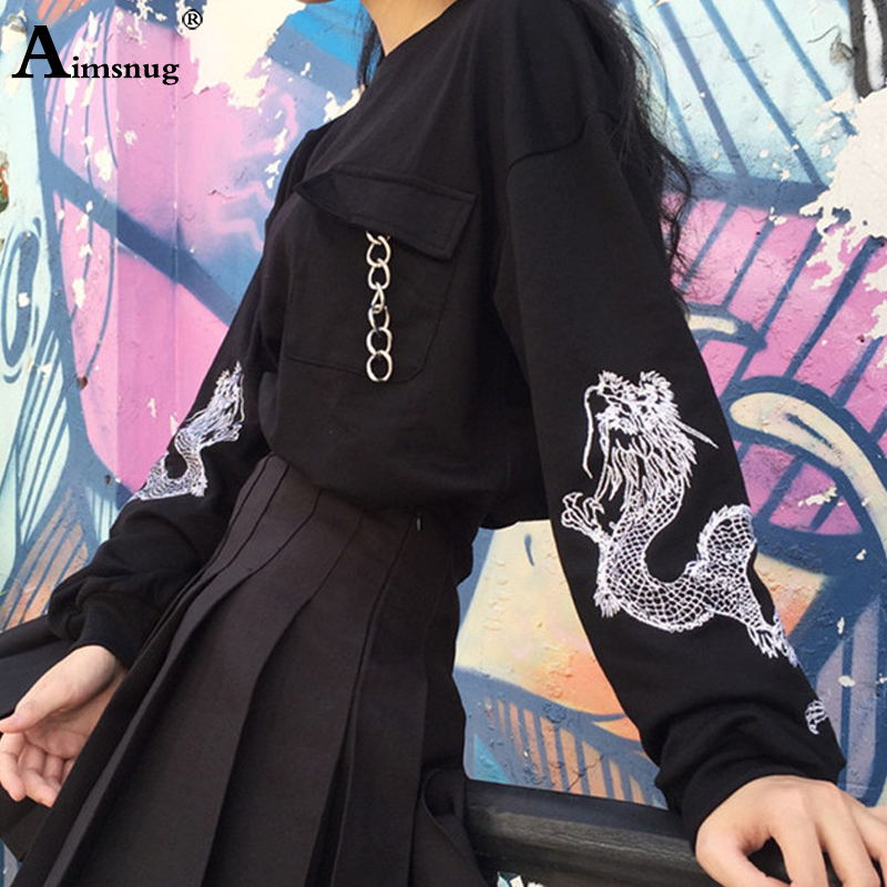 Black Embroidery Sweatshirt Top Women Long Sleeve Chains Preppy O-neck Pullovers Tops Girls 2019 Autumn Gothic Print Sweatshirts