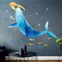 Big Whale Wall Sticker Creative Vinyl Art Decals for Kids Babys Room Decoration Underwater World Bedroom Decor Mural Wall Decal(China)