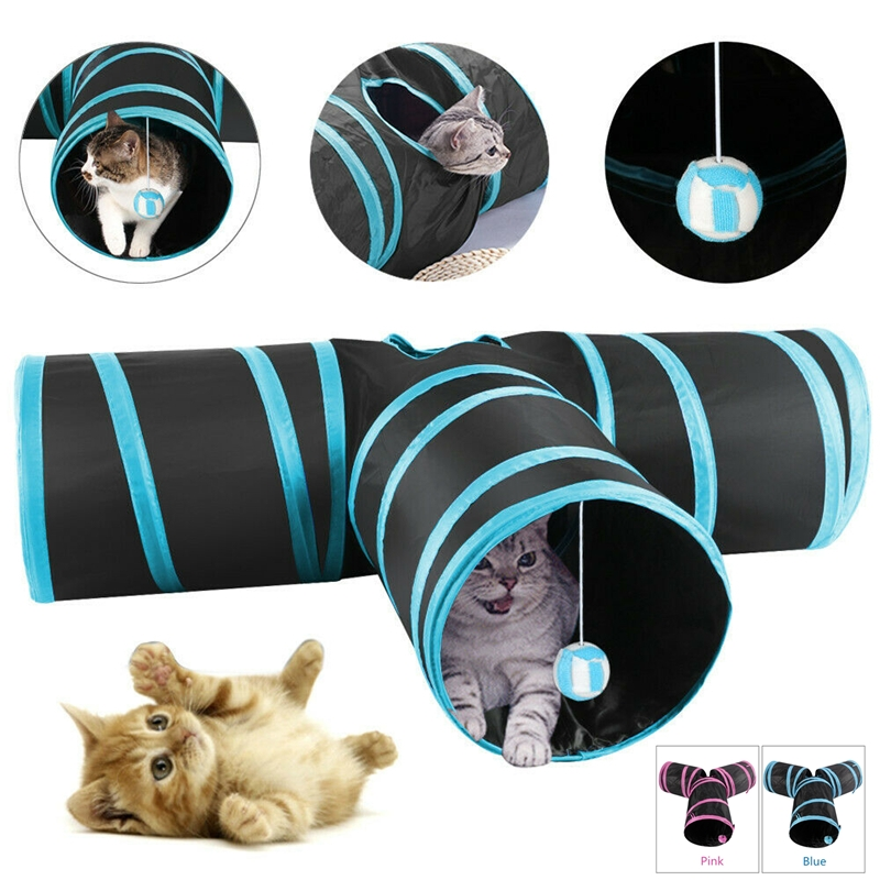 Collapsible Cat Tunnel 3 Way Tunnel Rabbit Training Toy Pet Cat Dog Play Tube With Ball Pet Indoor Outdoor Funny Toy Foldable image