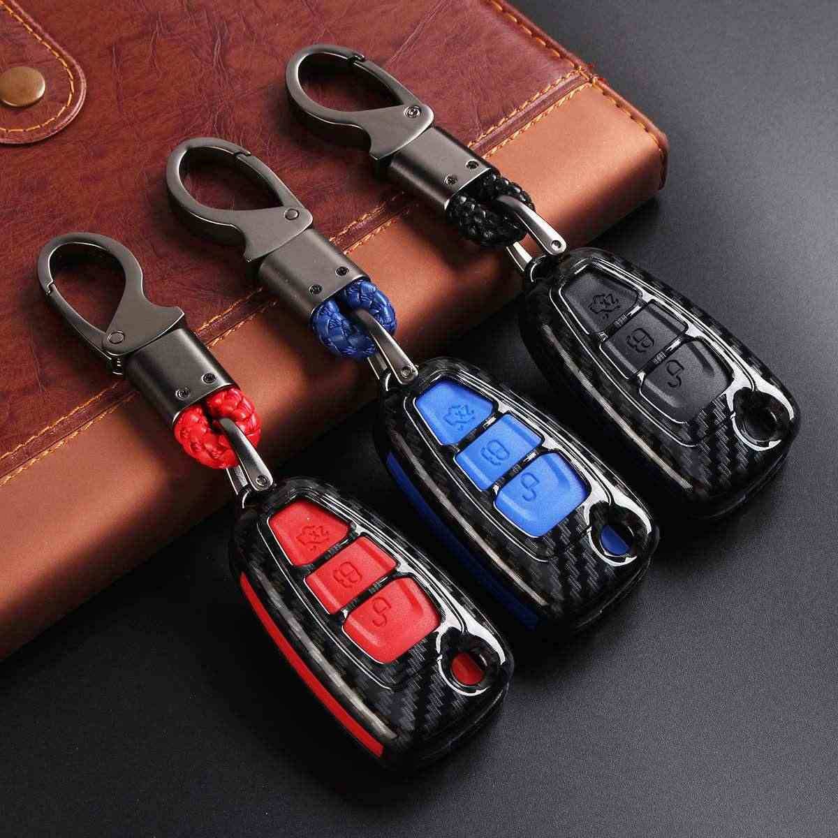 TANGSEN Key Fob Case for FORD C-MAX ESCAPE FIESTA FOCUS RS FUSION 3 Button Keyless Entry Remote Carbon Fiber Pattern ABS Blue Silicone Cover