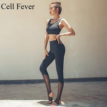 Gym Set Women 2Pcs Yoga Sports Bra and High Waist Leggings Workout Fitness Clothing Sportswear Quick Dry Suits