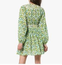 Hot Selling Fashion Floral print Dress Full sleeve Green pleated fold design Deep sexy v-neck mini dress