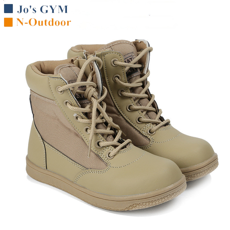 Kids Outdoor Travel Climbing Shoes Children Camping Hiking Sports Shoes Non-slip Breathable Wearproof Tactical Army Combat Boots