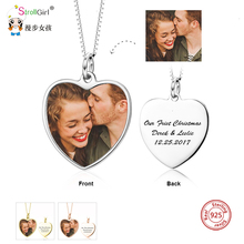 StrollGirl personalized 925 sterling silver custom photo engraved name heart-shaped necklace girlfriend anniversary necklace gif u7 100% 925 sterling silver heart shape engraved personalized custom photo pendant necklace mother s day gifts for lovers sc83