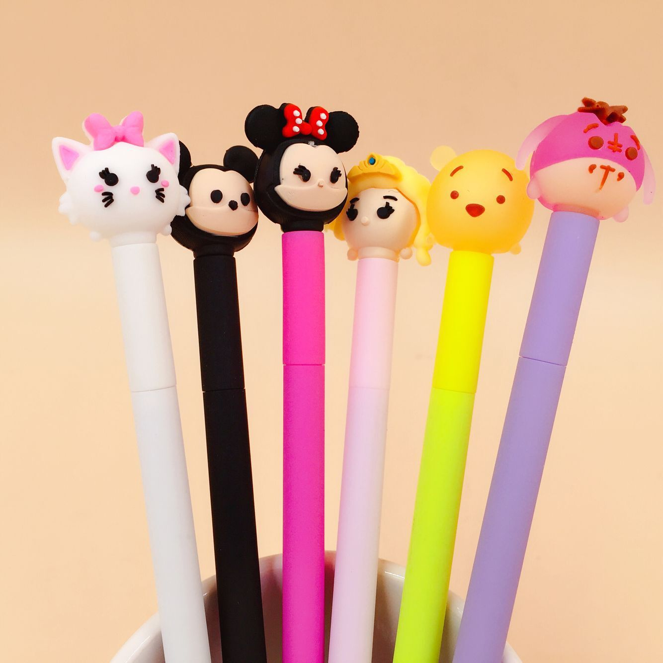 48 Pcs/lot Cartoon Happiness Family Gel Pen Signature Pen Escolar Papelaria School Office Supply Promotional Gift