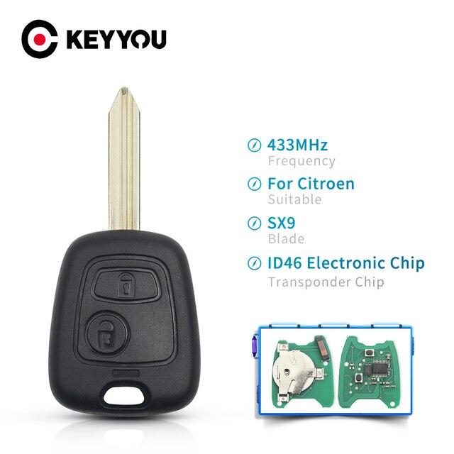 KEYYOU For Citroen Xsara Picasso Berlingo 2002 2003 2004 2005 2006 2007 2008 원격 키 2 버튼 433mhz ID46 전자 칩