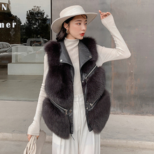 Vest Real-Fox-Fur Luxury Genuine Waistcoat Gilets Sheepskin Women New-Design with Zipper