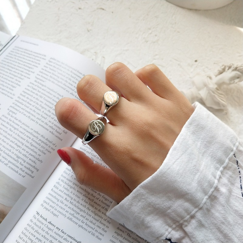 Leouerry New 925 Sterling Silver Fancy English Letter B Ring