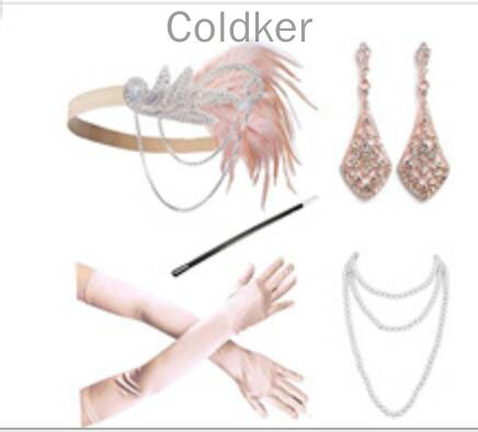 Ecoparty 1920s Women Accessories 20s Flapper Costume Gasty Headband Earrings Necklace Gloves Cigarette Holder