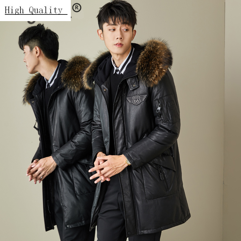 Genuine Leather Jacket Men Winter Clothes 2020 Thick Warm Duck Down Sheepskin Coat Raccoon Fur Hooded Jacket Hiver 807098