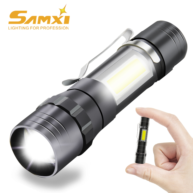 Mini Bright LED Flashlight USB Charging Built-in Lithium Battery With Side Light LED Lamp Outdoor Zoom Long-range Torch Lantern