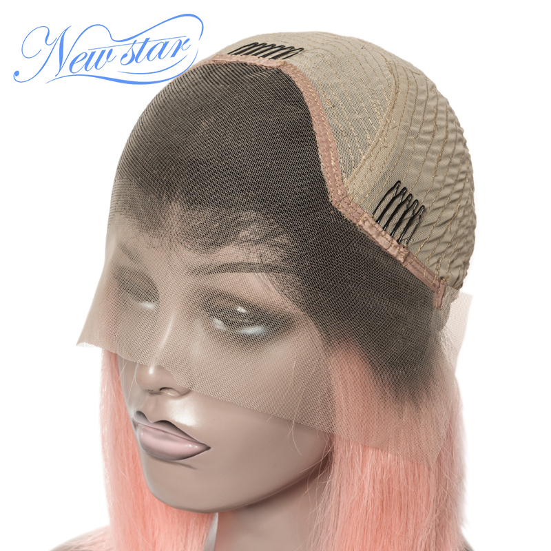 Black Root Short Bob Lace Wig Brazilian Straight Human Hair New Star Glueless Lace Front Wig 1B/ Pink/99j/Grey/Orange Ombre Wig-in Lace Front Wigs from Hair Extensions & Wigs    3