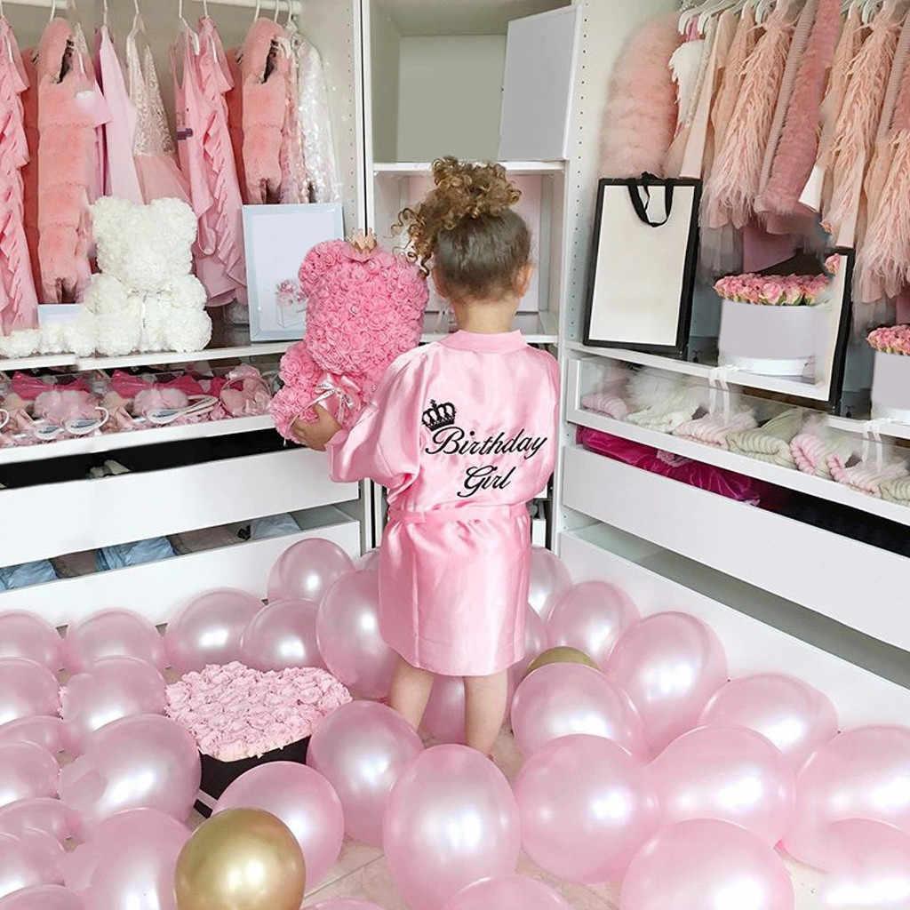 Dzieci dziewczyny lato dorywczo urodziny dziewczyny szlafrok dziewczynek jednolity jedwab satynowe szaty Kimono szlafrok bielizna nocna ubrania HOOLER