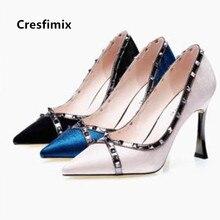 Cresfimix Sapato Feminino Women Fashion High Quality Blue Ri