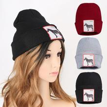 Beanies Knitted Hat Skullcap Baggy Crochet Ladies Girls Hats Zebra Logo Female Men's Cap Casual Outdoor Beanie Hip-hop Skullies outdoor plaid velvet baggy beanie