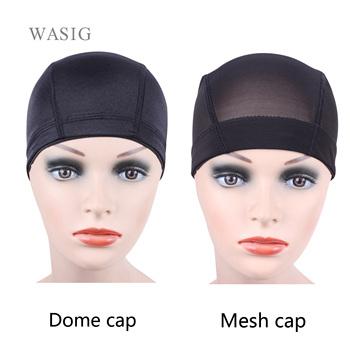 1pcs Glueless Hair net wig cap for Making Wigs Spandex Net Elastic Dome cap Mesh dome cap tanie i dobre opinie WASIG CN (pochodzenie) Polyester 1102-1 1 pcs Hairnets Black Beige Spandex nets