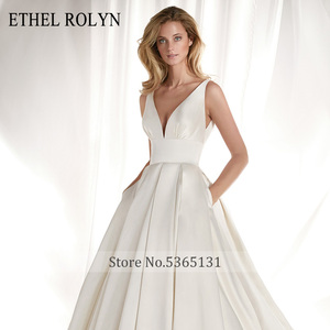 Image 4 - ETHEL ROLYN Elegant Satin Vintage Wedding Dress 2020 Sexy V neckline Bow Simple Bride A Line Bridal Gowns Vestido De Noiva