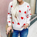 Sweater Women O-Neck Sweater Long Sleeve Knitwear Heart Shape Pullover Top Blouse Blusa De Frio Feminina Korean Style Women