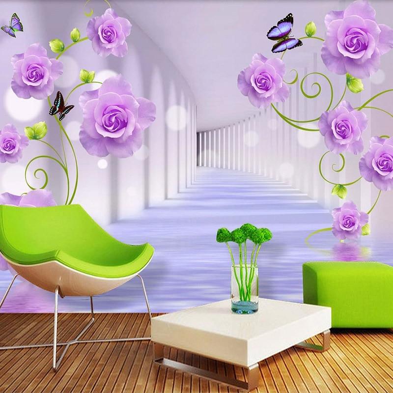 Custom Photo Wallpaper For Walls 3D Stereoscopic Purple Rose Flowers Living Room Sofa TV Background Wall Mural Home Decor Modern