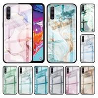 Caja de cristal para Samsung Galaxy A50 A51 A71 M31 A70 A81 A31 A40 A30 A10 M51 a la cubierta del teléfono de Shell Fundas mármol arte moda Capa