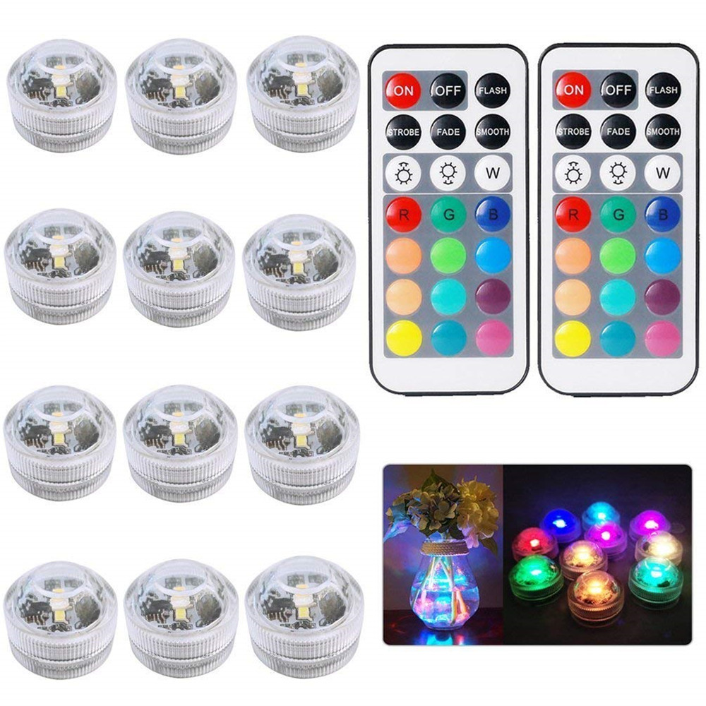 RGB Submersible Light Battery Operated Remote Control Underwater Night Light Lamp For Outdoor Vase Fish Tank Pond Disco Wedding