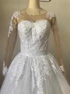 Image 3 - Fansmile 2020 ארוך שרוול Vestido דה Noiva תחרה שמלות חתונה שמלות מחוייט בתוספת גודל כלה טול Mariage FSM 538F