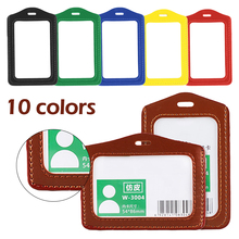PU Leather ID Badge Case Credit Card Case Bank Credit Card Holders ID Badge Holders Clear and Color Border Lanyard Holes new transparent id card holders and certificates case for admission quality pvc card badge holder work id cover without lanyard