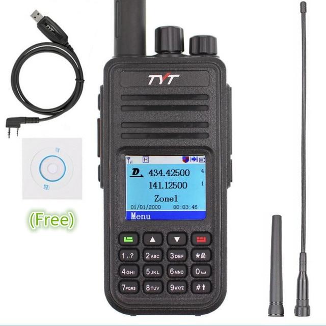 TYT MD 380 Walkie Talkie DMR Digital VHF UHF long range Two Way Radio 5 watts MD 380 Transceiver  Ham Radio Amador+Program Cable