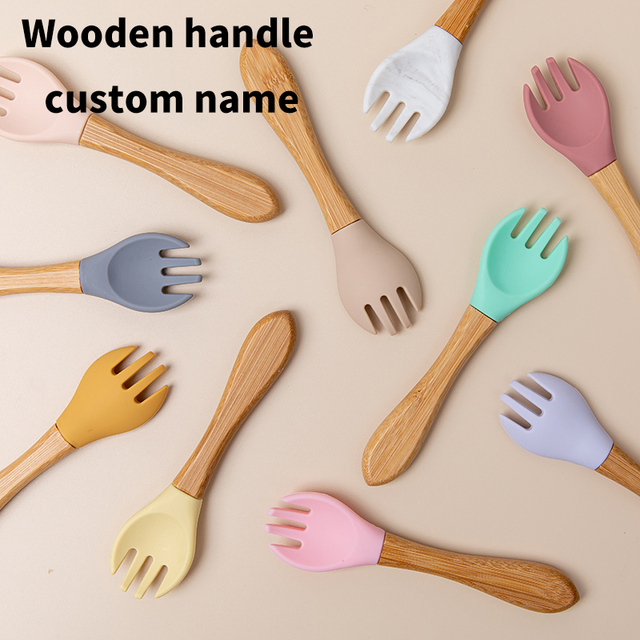 Baby Bamboo Fork Silicone Wooden Baby Feeding Spoon Organic Soft Tip Spoon BPA Free Food Grade Materia Handle Toddlers Gifts