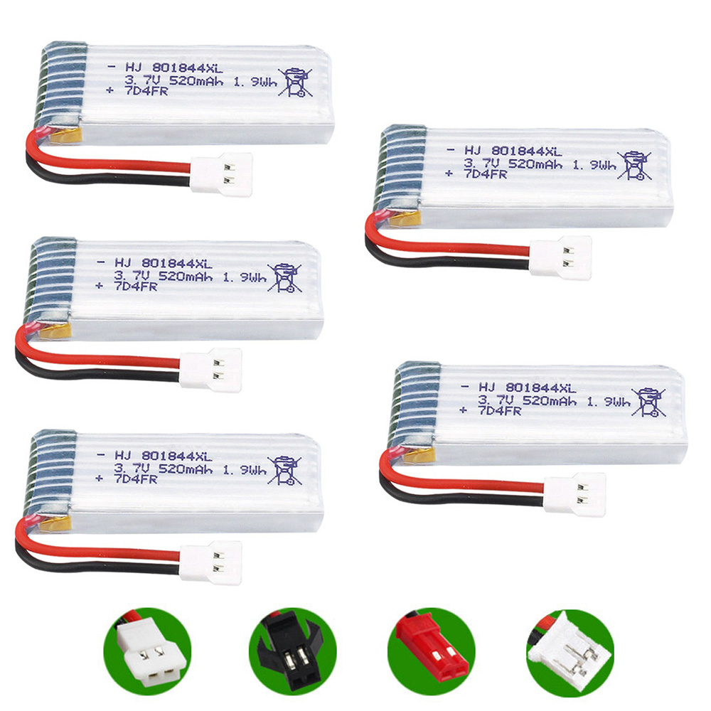5PCS <font><b>3.7V</b></font> <font><b>520mAh</b></font> XH2.54 Plug 25C 1S 801844 Lithium <font><b>Battery</b></font> for H107P RC Camera Drone Spare Parts 3.7 V <font><b>Lipo</b></font> <font><b>Battery</b></font> wholesale image