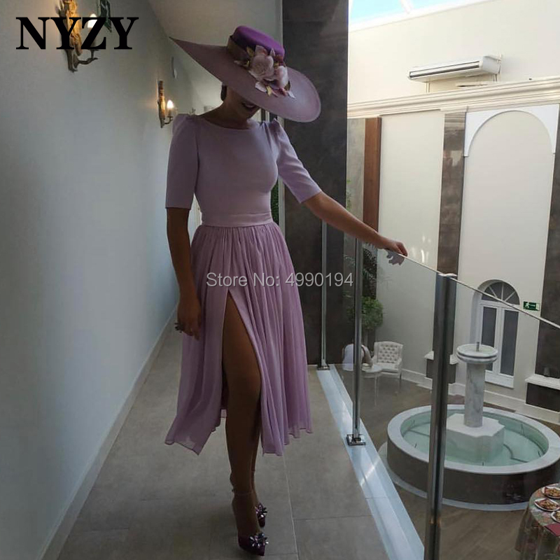 Lilac Chiffon Tea Length Short Sleeve High Slit   Cocktail     Dresses   NYZY C209 Formal   Dress   Party Graduation Homecoming 2019