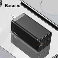 Baseus gan carregador rápido 65 w eua plug usb pd carregador suporte carga rápida 4.0 scp supercharge para iphone 11 pro xr xiaomi huawei