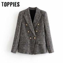 Lattice Twill Tweed Jacket Coat Vintage Ladies Office Blazer Jacket Doulbe Breas