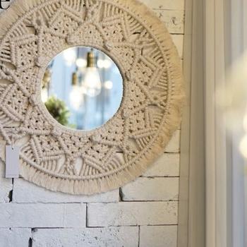 Makrama lustro ręcznie robione lusterko do makijażu oświetlone kompaktowe ściany gobelin domu ganek lustra do domu makijaż pokój kąpielowy tanie i dobre opinie CN (pochodzenie) ROUND 2XPE5AC403340-A