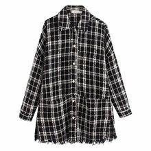 2020 nueva primavera otoño europeo Plaid Tweed zaraing mujeres chaqueta abrigo sheining vadiming chaqueta femenina abrigo Bgb9862
