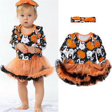 Halloween Festival Clothes Baby Girls Ghost Pumpkin Fancy Dress Party Tutu Romper Headband Outfit Party Dress Baby Girl Stuff(China)