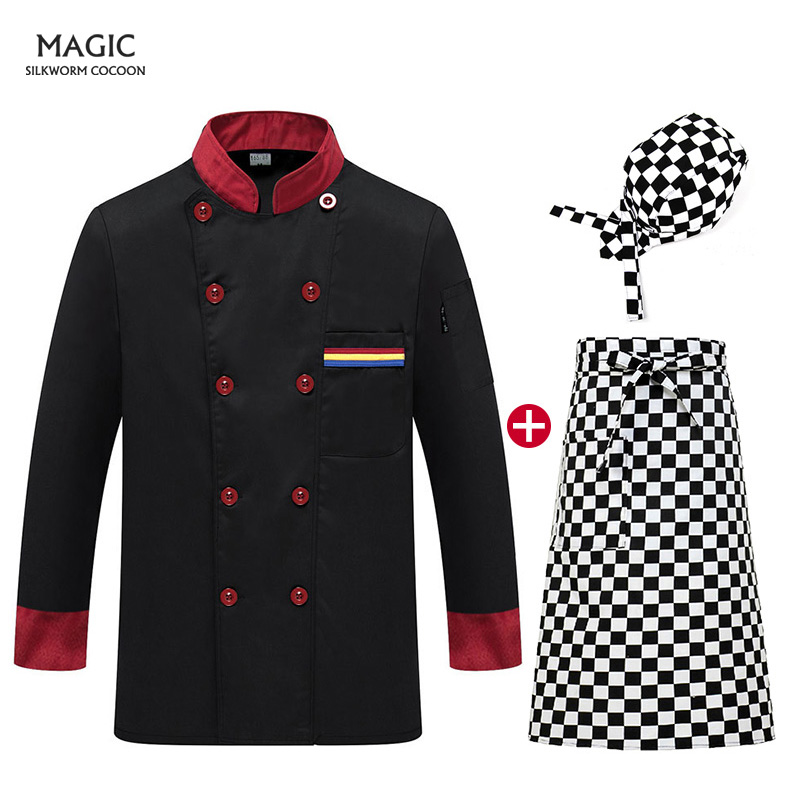 Double-breasted Chef Service Hotel Uniform High Quality Catering Autumn And Winter Long Sleeve Waiter Special Overalls Chef Hat