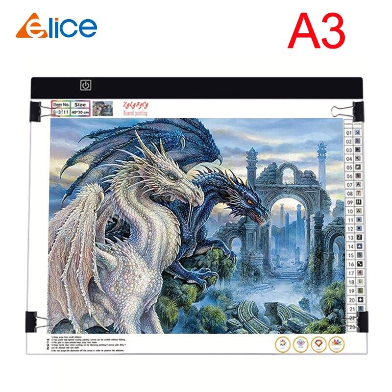 Elice a3 led almofada de luz artcraft rastreamento caixa de luz placa cópia digital tablets pintura desenho tablet esboçar almofada