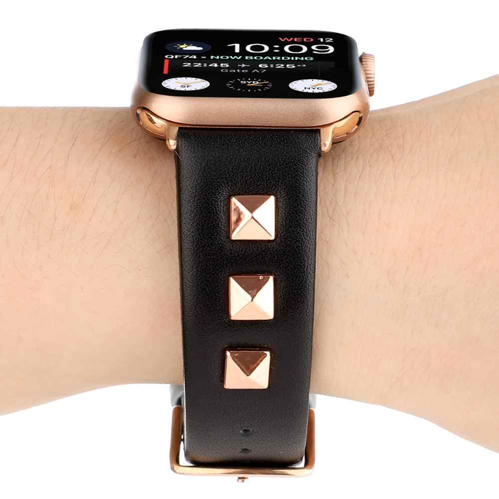 עלה זהב מתכת מסמרת שעון להקת עבור אפל שעון להקת 42/38mm עור ספורט רצועת עבור iWatch סדרה 4 3 2 1 44/42mm אבזרים