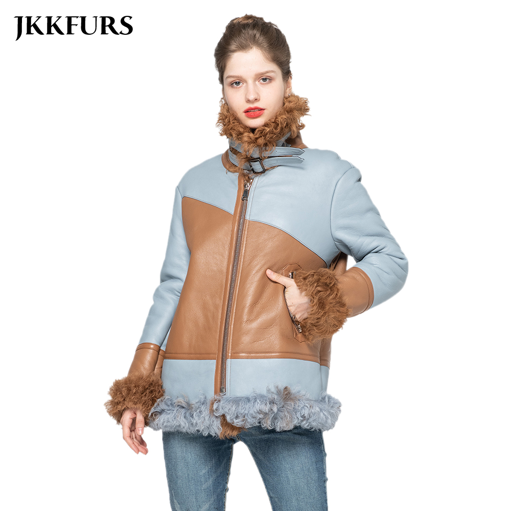 Women's New Genuine Sheepskin Leather Coat Real Tuscany Wool Jacket Thick Warm Fur Outerwear S9033